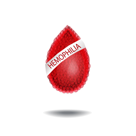 hemophilia: World Hemophilia Day. 17 April. A drop of blood with an inscription. Vector illustration.