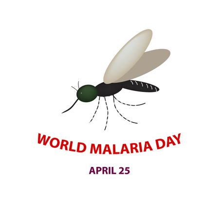 World Malaria Day. Mosquito. 25th of April. Vector illustration Illustration