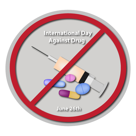 warning against a white background: International day against drug abuse.