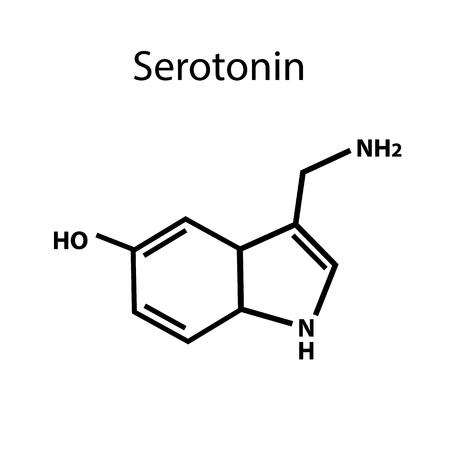 セロトニンはホルモンです。化学式。孤立した背景のベクトル図。