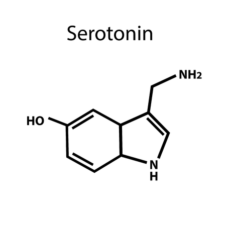 Serotonin is a hormone. Chemical formula. Vector illustration on isolated background.