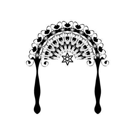Vintage graphic Chuppah. Religious Jewish wedding canopy for. Vector illustration on isolated background.