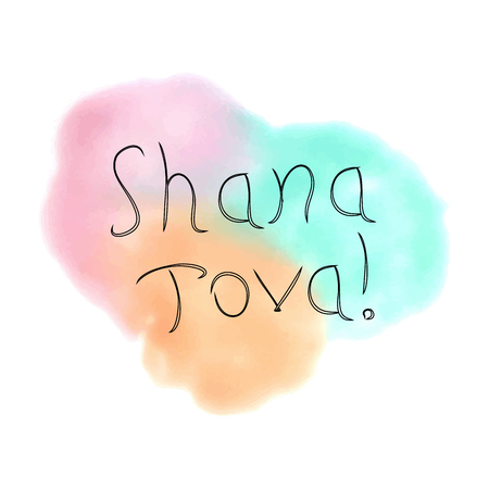 The inscription Shana Tova Hebrew. Rosh a Shana. doodle. On the watercolor stain. Hand drawing. Lettering. Vector illustration on isolated background Illustration