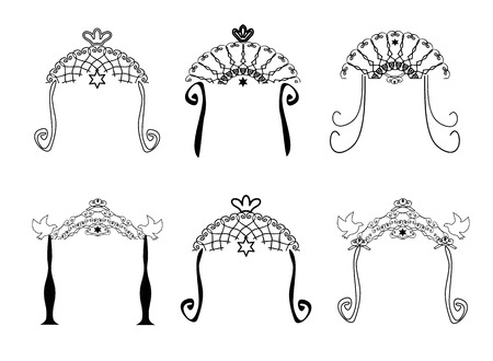 Set of vintage graphic Chuppah. Religious Jewish wedding canopy for. Vector illustration on isolated background.