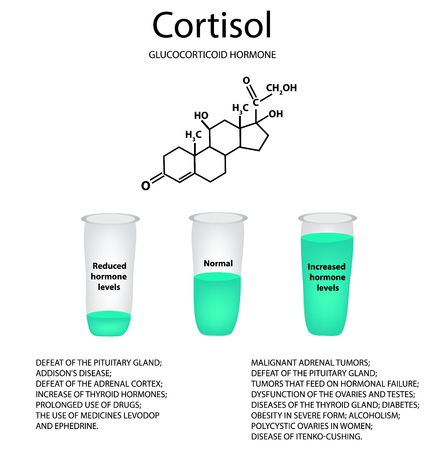 Chemical molecular formula of the hormone cortisol. The hormone of the adrenal glands.