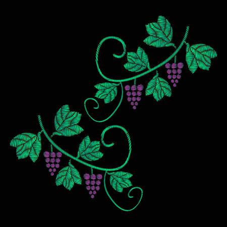 Uma videira com cachos de uvas. Bordado de jeans. O bordado é suave. ilustração em um preto Foto de archivo - 84626889