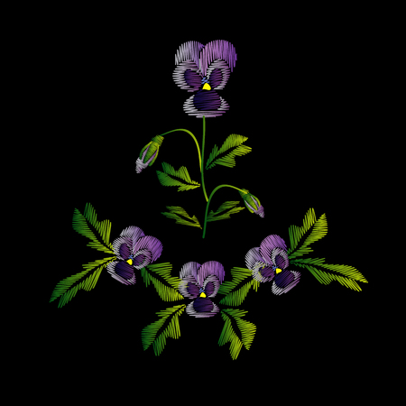 Embroidery of jeans. Smooth. Lilac flowers Pansies with buds. Flower pattern. Traditional folk ornament. illustration on a black .