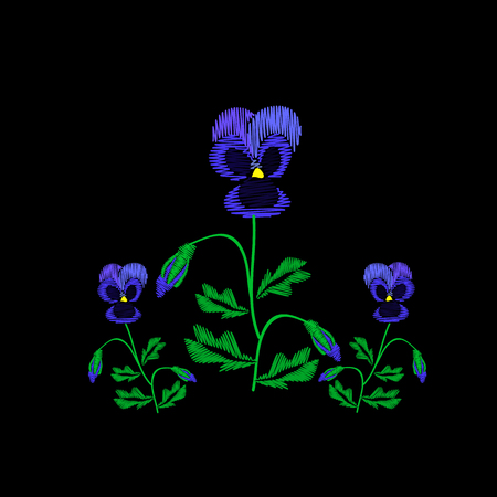 Embroidery of jeans. Smooth. Blue flowers Pansies with buds. Flower pattern. Traditional folk ornament. illustration on a black .