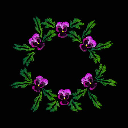 Embroidery of jeans. Smooth. Lilac flowers Pansies. Flower pattern. Round frame. Traditional folk ornament. illustration on a black .