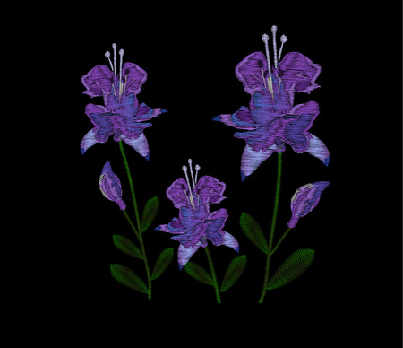 Beautiful lilac flowers fuchsia. Embroidery of jeans. Embroidery is smooth. illustration on a black Illustration