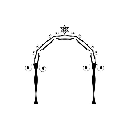 Vintage Graphic Chuppah. Arch for a religious Jewish Jewish wedding. canopy. Vector illustration on isolated background Çizim