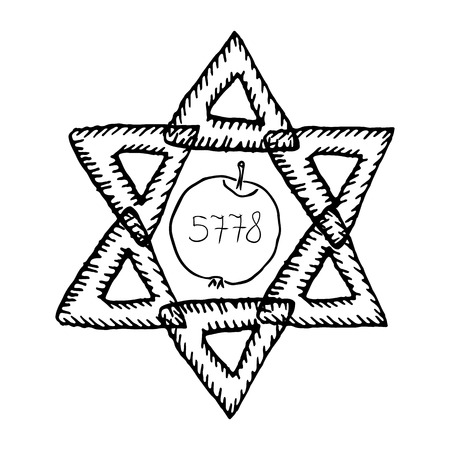 The Jewish holiday of Rosh HaShanah. The apple, 5778 year. The six-pointed star of David. Doodle, hand draw. Vector illustration.