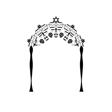 Vintage Graphic Chuppah. Arch for a religious Jewish Jewish wedding. canopy. Vector illustration on isolated background Illustration