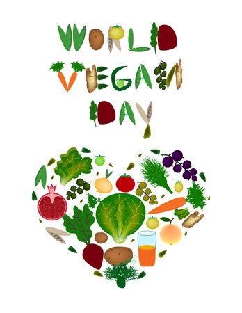 World Vegan Day. Heart of vegetables and fruits. Inscription from fruits and vegetables. Vector illustration on isolated background