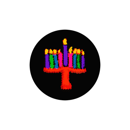Multi-color pixel Hanukkah. From colorful circles. Jewish holiday Hanukkah. Vector illustration on isolated background. Illustration