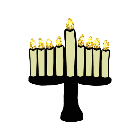 Hanukkah black with candles. Golden lights. Jewish holiday Hanukkah. 3d Vector illustration on isolated background Illustration