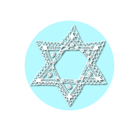 chanukkah: The six-pointed Jewish star of David in the style of Doodle. Sketch, drawing hand. Vector illustration on isolated background