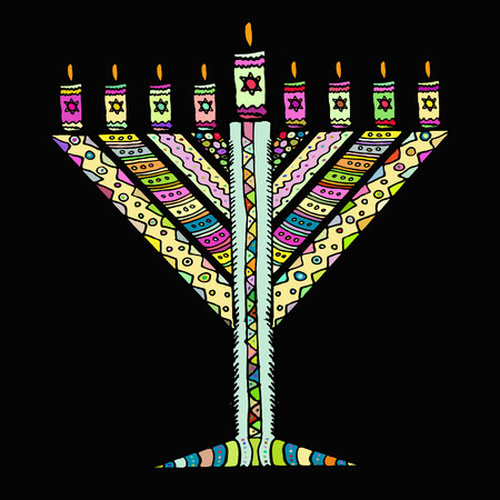 Colorful Hanukkah in the style of doodle. Triangular Chanukah Chabad. Jewish holiday of Hanukkah. Hand draw. Sketch. Vector illustration on black background