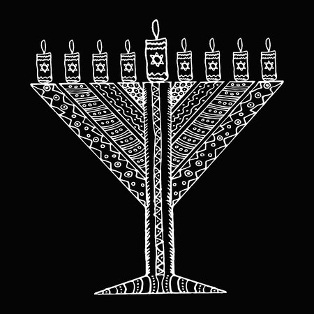 White Hanukkah in the style of doodle. Triangular Chanukah Chabad. Jewish holiday of Hanukkah. Hand draw. Sketch. Vector illustration on black background.