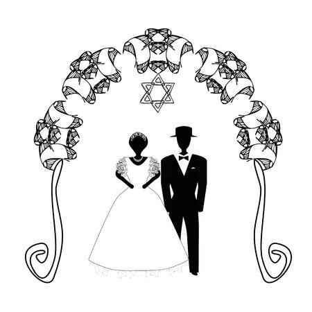 빈티지 그래픽 Chuppah입니다. 종교 유대인 유대인 결혼식을위한 아치. 캐노피 아래 신부와 신랑입니다. 벡터 일러스트 레이 션에 고립 된 배경