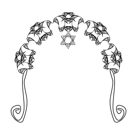 Vintage Graphic Chuppah. Arch for a religious wedding. The bride and groom under a canopy. Vector illustration on isolated background