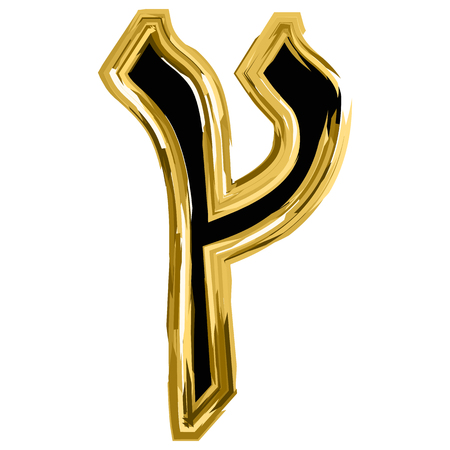 Gold Tzaddi letter of the alphabet Hebrew. The font of the golden letter is Hanukkah. vector illustration on isolated background.