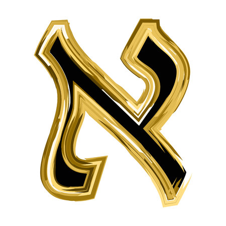 Gold letter Aleph of the Hebrew alphabet. The font of the golden letter is Hanukkah. vector illustration on isolated background Vettoriali