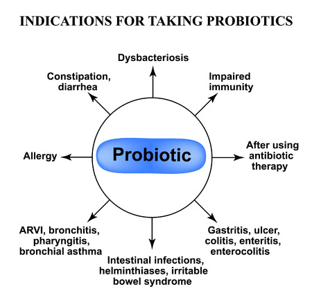 Indications for taking probiotics. Infographics. Vector illustration on isolated background.