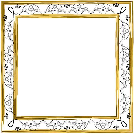 Decorative vintage frame. Gold. Jewish star. Vector illustration on isolated background.