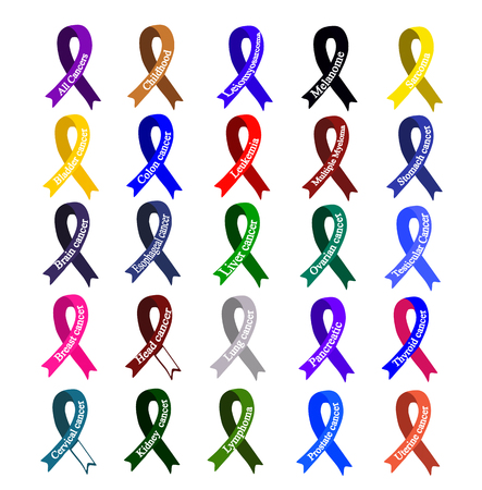 Cancer Ribbon. Set of ribbons of different colors against cancer. World Cancer Day. International Childhood Cancer Day. Vector illustration on isolated background.