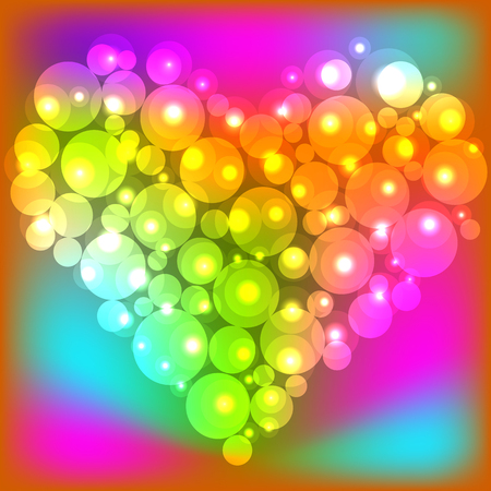 Colorful pearl shiny glowing heart. Happy Valentines Day. Vector illustration.