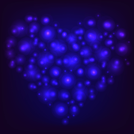Blue shining glowing heart. Happy Valentines Day. Vector illustration. Illustration