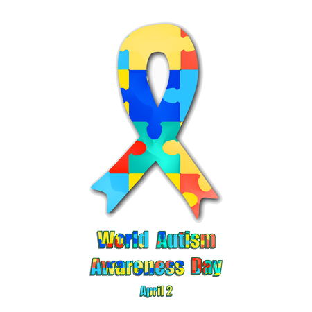 Puzzles and Ribbon with World Autism Day. Vector illustration on isolated background Illustration