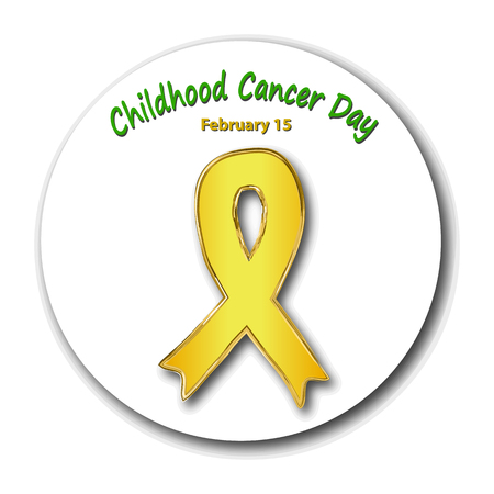 Childhood cancer awareness. Cancer Childrens Day. Emblem with a gold ribbon. Vector illustration on isolated background
