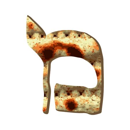 Alphabet Hebrew Passover matzah. The Hebrew letter Mem. Calligraphy font. Jewish Easter. Texture matzo. Vector illustration on isolated background. Stock Vector - 94890240