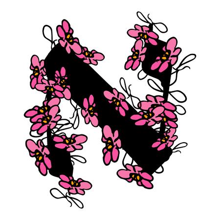 Floral Hebrew font. letters Aleph of flowers Hebrew alphabet.
