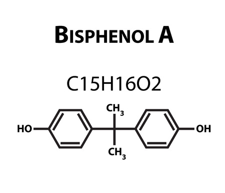 Bisphenol A. Chemical formula infographics. Vector illustration on isolated background