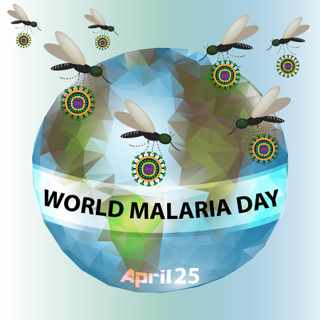 World Malaria Day. Mosquitoes, planet earth. Info-graphics vector illustration. Illustration