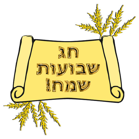 Postcard on the Jewish holiday Shavuot. The golden inscription in Hebrew Shavuot Sameah in the translation of the Happy Shavuot. A scroll of the Torah, ears of wheat vector illustration.