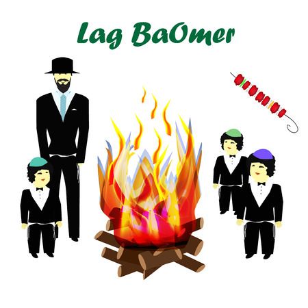 Holiday Lag Ba'omer. Lag baomer. Children, Hasidim. Religious Jews. Big bonfire. The fire is bright. Barbecue. Vector illustration on isolated background Иллюстрация