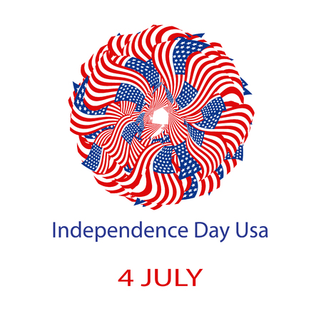 Independence Day United States of America. Mandala from the USA flag. Vector illustration on isolated background Çizim