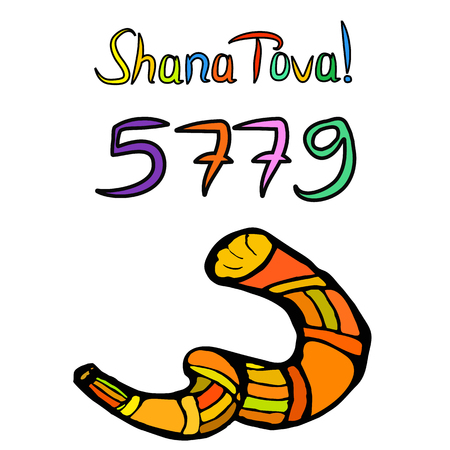 Shofar on Rosh Hashanah. Sketch, doodle, hand draw. Lettering inscription translated Shana Tova Happy Rosh Hashanah. 5779, Vector illustration on isolated background
