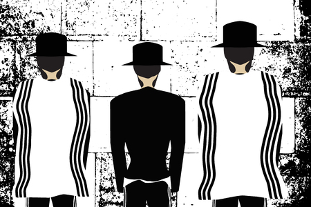 Western Wall, Jerusalem. The Wailing Wall. Religious Jewish Hasidim in hats and talit pray. Black and white vector illustration.