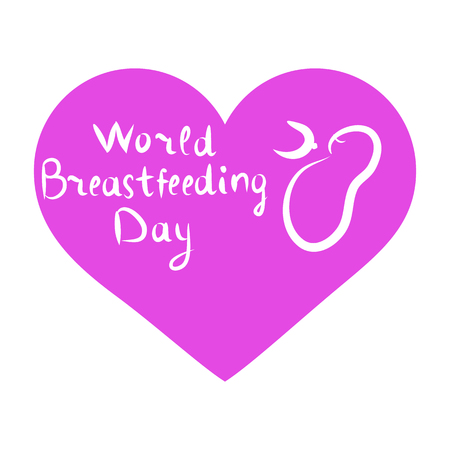 World Breastfeeding Day. Inscription lettering, doodle. Hand draw. The baby sucks his chest. Lilac heart. Vector illustration on isolated background.