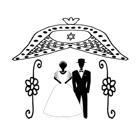 Arch for wedding vintage in flowers. The Jewish Hupa. Wedding hoop. Bride and groom. Doodle. Hand draw. Vector illustration on isolated background