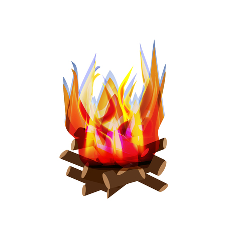 Holiday Lag Ba'omer. Lag baomer. Big bonfire. The fire is bright. Barbecue. Vector illustration on isolated background