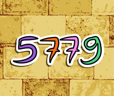 Western Wall, Jerusalem. The Wailing Wall. The inscription 5779. Shana Tova Rosh Hashanah. doodle. Translated Hebrew Happy New Year. Shofar, honey, apple sticker Vector illustration Vector Illustration