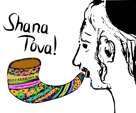A religious Jew with a shofar. Hasid blows the shofar on Rosh Hashanah. Sketch, doodle, hand draw. Lettering inscription Shana Tov in the translation of Happy Rosh aShana. Vector illustration