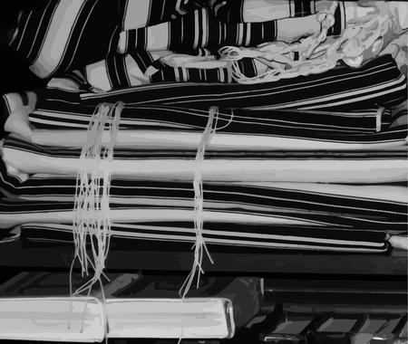Black and white illustration. Talit, zizit and Jewish prayer books. Vector illustration
