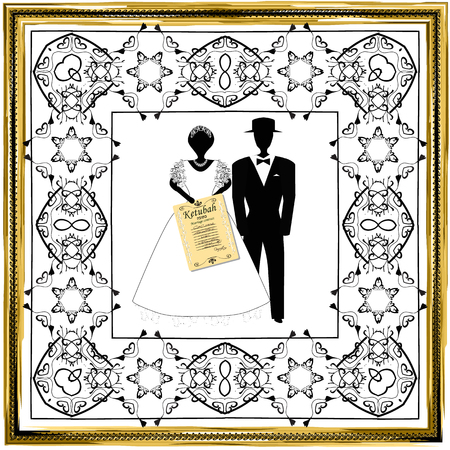 Gold vintage frame with Hebrew symbols. A Jewish wedding, a hupa, a bride and groom with a ketubah in their hands. Black silhouettes. Vector illustration on isolated background. Ilustração